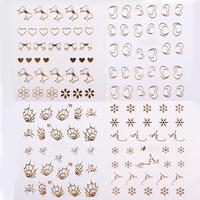 33pcs Gold Nail Stickers Water Transfer Decals Metallic 33 Designs Mix