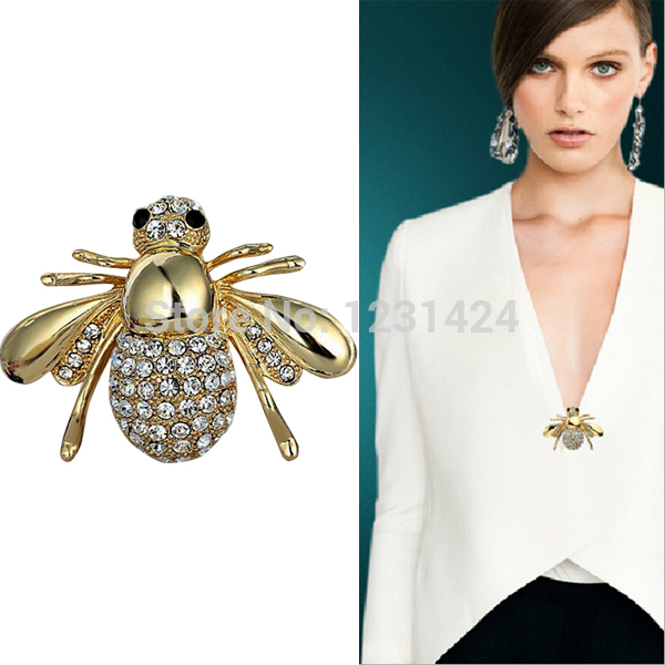 2014 New Women High-grade Fashion Rhinestone Clear Crystal Gold Plated BEE Insects Wing Charm Brooch Pin A00125(China (Mainland))