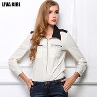 Women's European&American style Chiffon Shirt, Fashion hit color bottoming shirt, Business Casual Blouse
