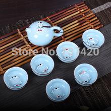 BEST 7pcs set colorful beauty pu er tea tools kungfu Pisces mugs fish tea sets handmade