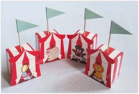 Free Shipping DIY Cartoon Folded Party Favor Candy Box with flag for Baby shower - 120pcs/lot LWB0371