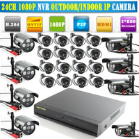 Newest 24 Channel Security CCTV System Network Video Recorder 24CH NVR 1080P 24pcs HD Outdoor Indoor 3ARRAY Mini IP Camera ONVIF