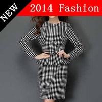 2014 new fashion autumn casual plaid women dress printed bandage office woman clothes desigual sexy pencil vestidos 1028LX