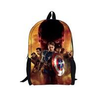 Children backpack boy newest dedicated students backpack bag film version of Captain America
