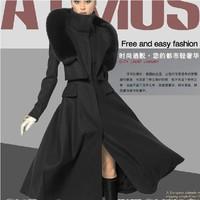 Woolen outerwear 2014 slim medium-long cashmere overcoat female quality plus size woolen JACKET
