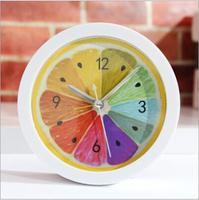 Pastoral Brief Fashion Fruit Lemon alarm clock desk clock Snooze function bedroom den lazy bell