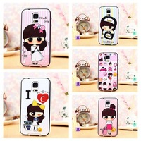 Fashion Cartoon Girl Plastic Phone Case Back Cover for Samsung Galaxy S5 i9600 Durable Protective Skin Shell for Galaxy S5 i9600