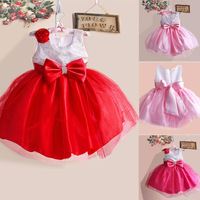 Hot Selling 2014 New Arrival girls dress, lace dress with bowknot and 3D Flower, kids   princess summer dresses