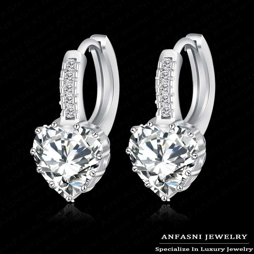 Top Selling Real Platinum Plated Luxury Stud Earring Inlay Swiss Zircon Ladies Wedding Jewelry CER0151-B(China (Mainland))