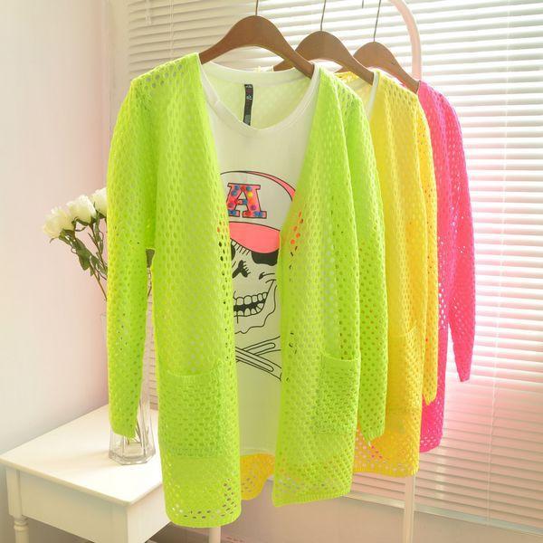 Versão coreana do novo código grande cor fluorescente cardigan camisola de malha fina de protetor solar oco ar condicionado camisa blusa(China (Mainland))