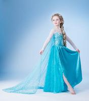 2015 Frozen Elsa Queen's Summer Models Princess Dress Aisha Girls Lace Blue Party Summer Dresses Free Shipping
