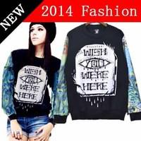 2014 new fashion winter casual printed sweatshirt cotton kawaii long sleeve women hoodies boy london woman pullover 1028LX