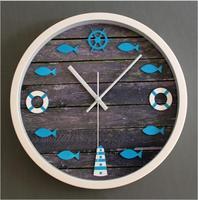 Continental Mediterranean Lifebuoy rudder tower fish nostalgic wood rot stereo mute quartz wall clock For bedroom
