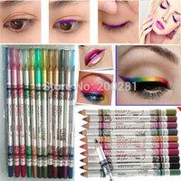 12Pcs/lot Glitter Lip Liner Eye Shadow Eyeliner Pencil Pen Long-Lasting Natural Eyeshadow Eyeliner Pencil Eyebrow Beauty Pencil