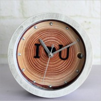 Retro Creative Alarm Clock Rings imprinted creative wooden desk clock idyllic natural  love seat watches Mute imprint