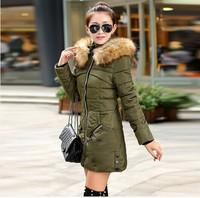 2014 New Women Winter Jacket Long Style  Zipper Coldproof Slim Thicken Fur Hooded Coat Women Duck Down Jacket  L-4XL B6618