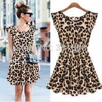 Hot Sale In Stock S-XXL Free Shipping Plus Size Sexy Leopard Print Casual Mini Sun Dress Sleeveless Summer 2014 American Apparel