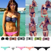 2015 New Women Sexy NEOPRENE BIKINI Push Up Swimsuit Zipper Opening Superfly Swimwear Beachwear XS-XL 6Colors Dropship Wholesale