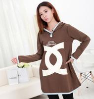 2014 Autumn Print Pattern Maternity Fashion Long Cotton Hoodies Pregnant Women Loose Pullover Dress Sweatshirt Fat Female Tops