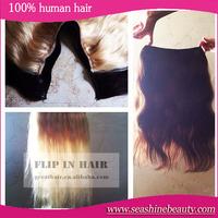 3pcs New arrival human 7A brazilian flip in hair No glue hair #613 #60 color cheap hair extensions