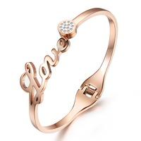 Korea Love Style Women's Love Bangle Bracelet Rose Gold Plated with Cz Stone
