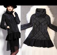Unique Design!New Top Fashion 100% Duck Down Coat  Winter 2014 Women Ruffles Patchwork Long Parka Outerwear Warm Outdoor Coat