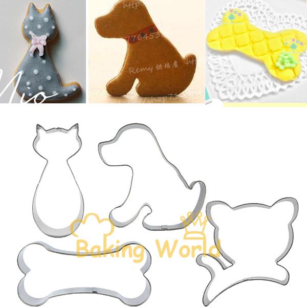 4pcs Cute Cat Dog Bone Animal Stainless Steel Cookie Cutter Fondant Cake Molds Metal Fruit Sandwich Decorating Tool Baking Tools(China (Mainland))