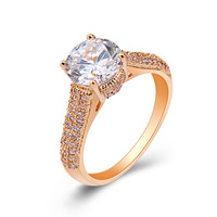 Fashion rhinestone finger rings for women engagement bands gold plated designer jewelry wholesale