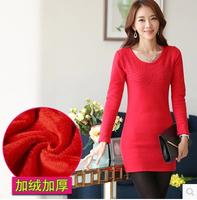 2014 New Fashion Autumn Women's Dresses Long-sleeve Rhinestones Basic Plus Velvet thickening Female Dress