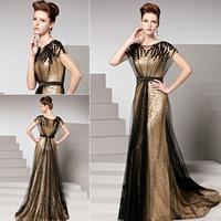 KingFox 81516 China Wholesale Golden Shiny Sequined Cap Sleeve Long Women Fashion Dress