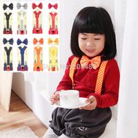 "New Kids Children Boys Girls ""Polka Dot"" Pattern 8 Matching Color Elastic Suspenders & Bow tie Set Y-Shape Braces&Butterfly Sets"