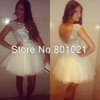 2016 Sexy Tulle Mini Cocktail Party Dresses College Graduation Little White Crystals Short Prom Homecoming Gowns Cheap