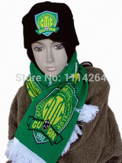 Fans supplies football souvenir transuranic winter fans scarf hat set twinset Free shipping(China (Mainland))