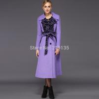 2014 winter new fashion Korean Women woolen coat was thin lace stitching plus size coat jacket XS S M L XL XXL XXXL