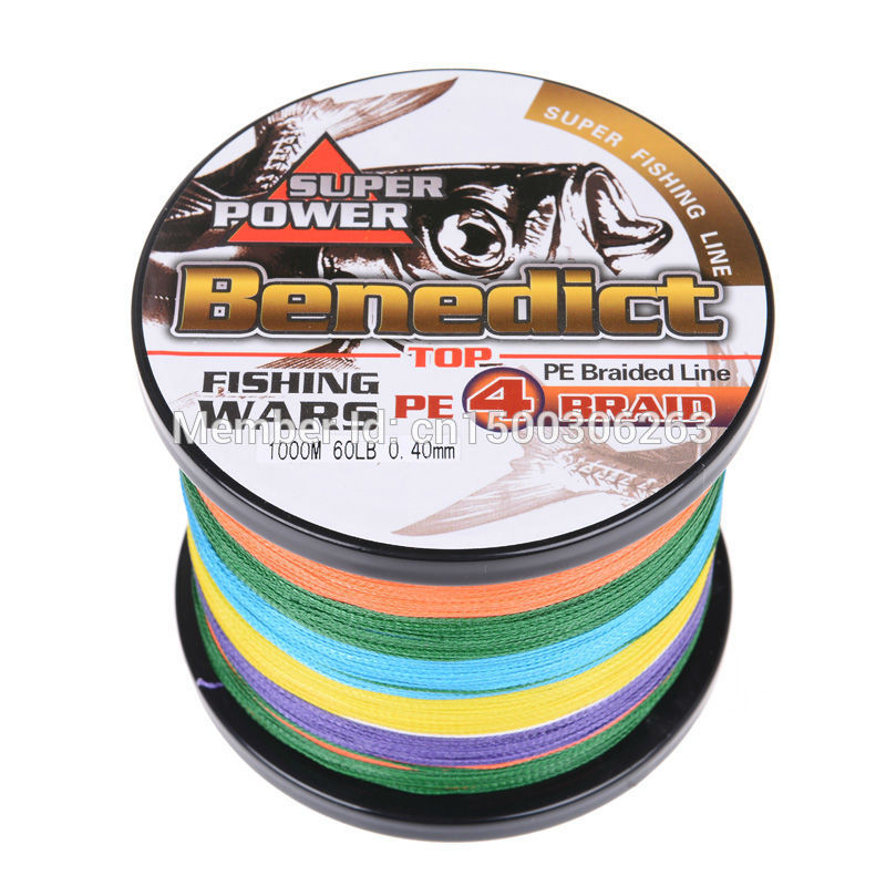 Wuhu brands braided fishing line 1000M pe Japan Multifilament line Multi- color fishing product braided wires free shipping(China (Mainland))