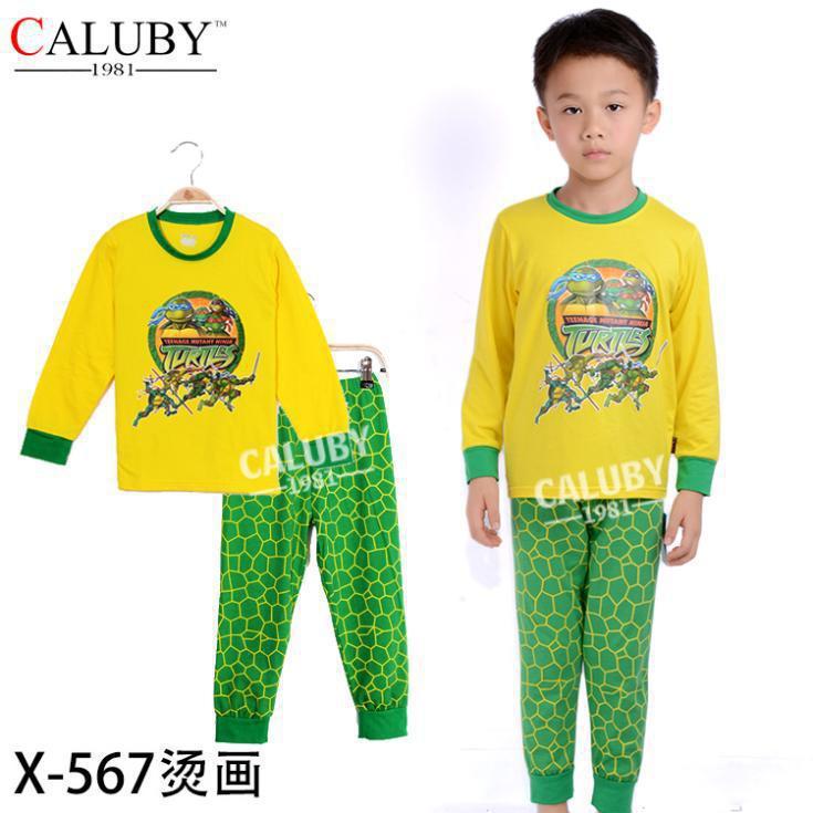 Baby Boys Winter Warm Mutant Ninja Turtles Pajamas Sleepwear Cartoon Suits Costumes Children Kids Sleepwear Long-sleeved +Pants(China (Mainland))