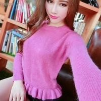 Autumn/winter 2014 new Korean female rabbit slim ruffled short pullover long sleeve bottoming sweatshirts