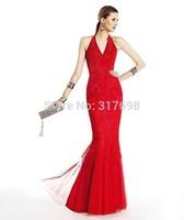 Vestidos De Fiesta Free Shipping 2015 New Mermaid V-neck Lace Appliques Red Long Elegant Evening Dresses Party Dress