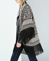CT185 Winter New Womens Tassel Cardigan Kimono Desigual Fashion Vintage Blouses For Women Elegant Japanese Ladies' Blusas Tops