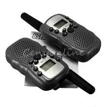T-388 2pcs Dual Black Adjustable Mini Portable Multi Channels 2-Way LCD 5KM UHF Car Auto VOX Radio Wireless Travel Walkie Talkie