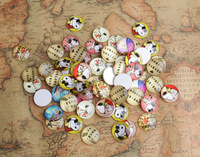 50PCS Fashion Round Mixed Photos Domed cute  Glass Cabochon Cover 25mm #26685