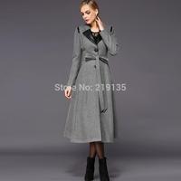Original 2014 winter new European and American women's plus size wool coat thick coat Korean version was thin windbreaker