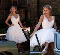 Maternity V-neck White Lace Beading Mini Short Wedding Dress Designer Bridal Gown 2014 Vestido De Novia Curto Short Dresses