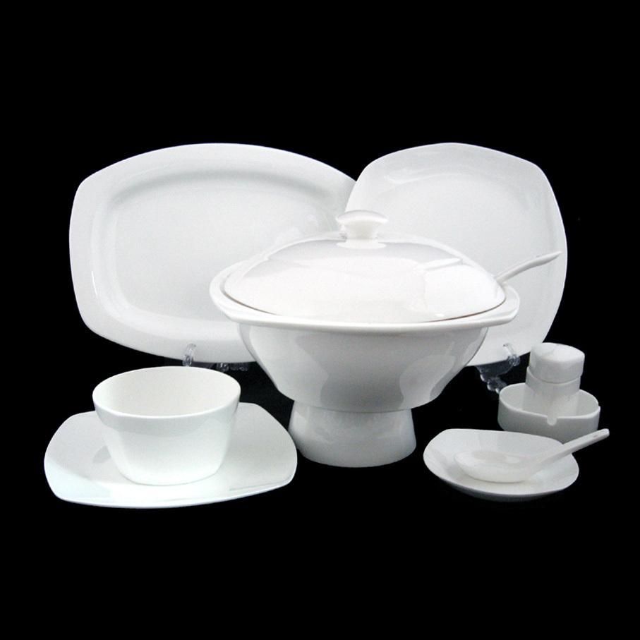 King Hsuan white square section 56 superior bone china tableware GCCJ5099(China (Mainland))