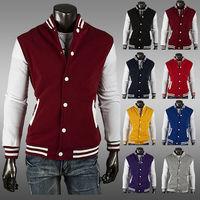 2014 Hot sale casual style jackets  men slim fit short baseball hoodies coat    M- XXL