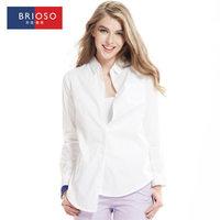 Brioso women's autumn shirt white shirt women's long-sleeve 100% sexy cotton work wear top 14111607