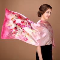100% silk shawl autumn and winter-grade inkjet canvas 12 Mumi dimensional multi-colored crepe silk scarves wholesale