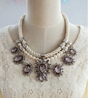 2014 New Women Layered Statement  Necklace Water Drop Jewel White Pearl Rope Chain Collar