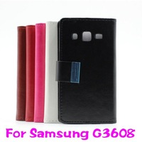 Flip faux leather cover for Samsung G3608 , Wallet case for Samsung G3608 Free Shipping