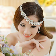 The bride wedding necklaces earrings piece suit Korean rhinestone tiara bridal hair accessories wedding accessories chain frontl